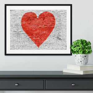 Symbol of love painted on white brick Framed Print - Canvas Art Rocks - 1