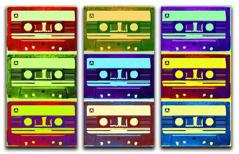 Tape Cassettes Split-Panel Canvas Print - Canvas Art Rocks