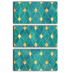 Teal and Gold Abstract Pattern 3 Split Panel Canvas Print - Canvas Art Rocks - 1