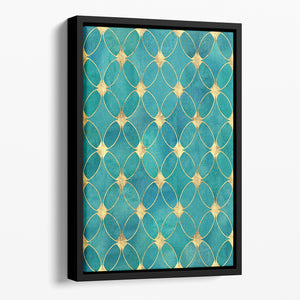 Teal and Gold Abstract Pattern Floating Framed Canvas - Canvas Art Rocks - 1