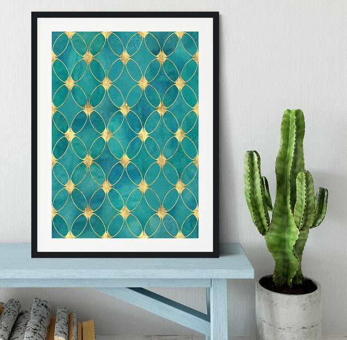 Teal and Gold Abstract Pattern Framed Print