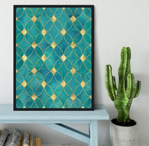 Teal and Gold Abstract Pattern Framed Print - Canvas Art Rocks - 2