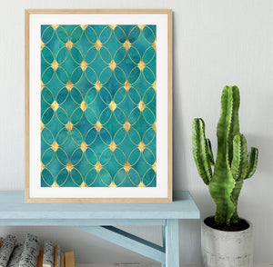 Teal and Gold Abstract Pattern Framed Print - Canvas Art Rocks - 3