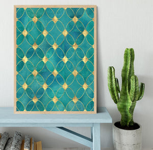 Teal and Gold Abstract Pattern Framed Print - Canvas Art Rocks - 4