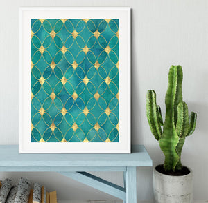 Teal and Gold Abstract Pattern Framed Print - Canvas Art Rocks - 5