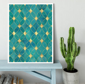 Teal and Gold Abstract Pattern Framed Print - Canvas Art Rocks -6