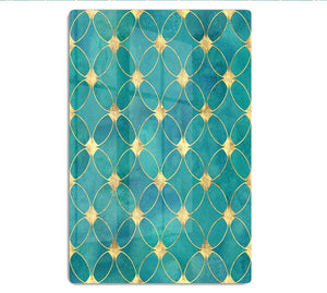 Teal and Gold Abstract Pattern HD Metal Print - Canvas Art Rocks - 1