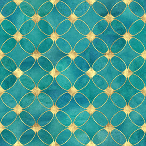 Teal and Gold Abstract Pattern Wall Mural Wallpaper - Canvas Art Rocks - 1