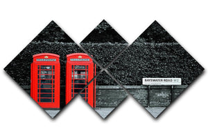 Telephone box in London street 4 Square Multi Panel Canvas  - Canvas Art Rocks - 1