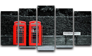 Telephone box in London street 5 Split Panel Canvas  - Canvas Art Rocks - 1