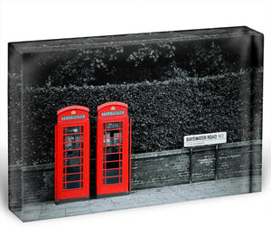 Telephone box in London street Acrylic Block - Canvas Art Rocks - 1