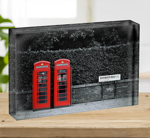 Telephone box in London street Acrylic Block - Canvas Art Rocks - 2