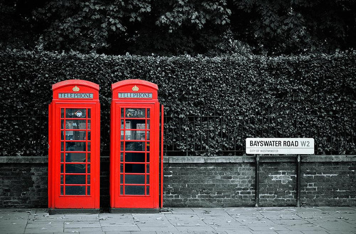 Telephone box in London street Wall Mural Wallpaper