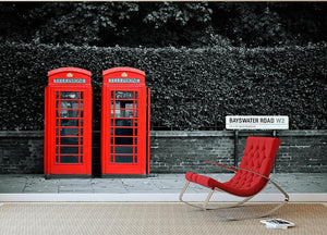 Telephone box in London street Wall Mural Wallpaper - Canvas Art Rocks - 2