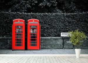 Telephone box in London street Wall Mural Wallpaper - Canvas Art Rocks - 4