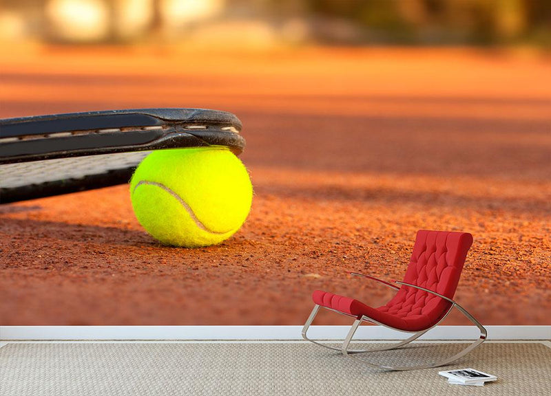 Tennis ball and racket Wall Mural Wallpaper - Canvas Art Rocks - 1