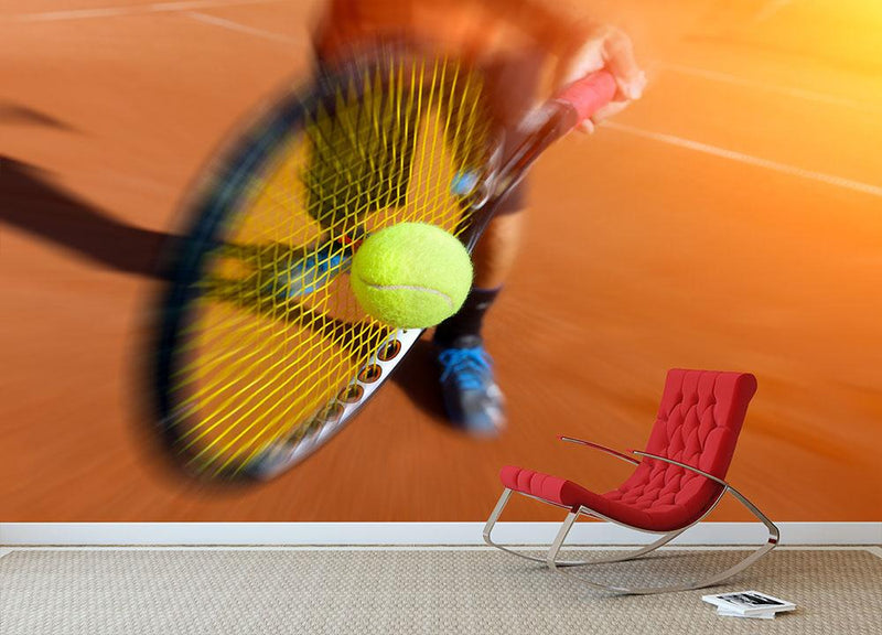 Tennis player in action Wall Mural Wallpaper - Canvas Art Rocks - 1