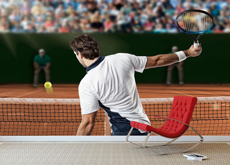 Tennis player returning a ball Wall Mural Wallpaper - Canvas Art Rocks - 1