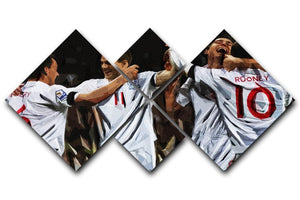 Terry Lampard Gerard and rooney England 4 Square Multi Panel Canvas  - Canvas Art Rocks - 1