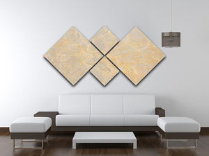 Textured Beige Marble 4 Square Multi Panel Canvas - Canvas Art Rocks - 3