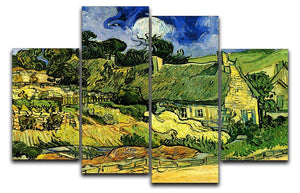 Thatched Cottages at Cordeville by Van Gogh 4 Split Panel Canvas  - Canvas Art Rocks - 1