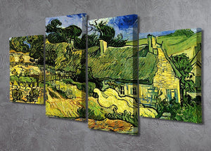 Thatched Cottages at Cordeville by Van Gogh 4 Split Panel Canvas - Canvas Art Rocks - 2