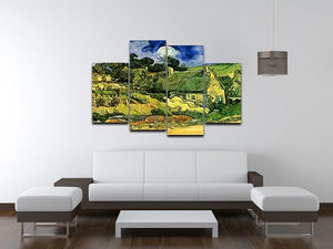 Thatched Cottages at Cordeville by Van Gogh 4 Split Panel Canvas - Canvas Art Rocks - 3