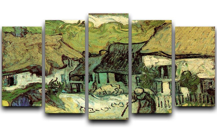 Thatched Cottages in Jorgus by Van Gogh 5 Split Panel Canvas