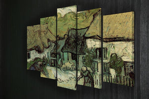 Thatched Cottages in Jorgus by Van Gogh 5 Split Panel Canvas - Canvas Art Rocks - 2