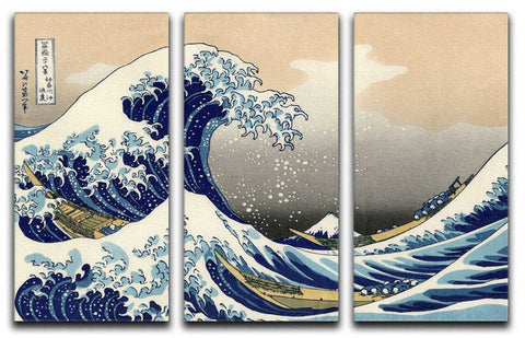 The Great Wave Off Kanagawa 3 Split Canvas Print - They'll Love Wall Art