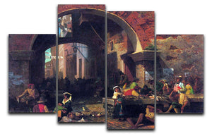 The Arc of Octavius Roman Fish market by Bierstadt 4 Split Panel Canvas - Canvas Art Rocks - 1