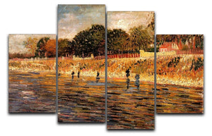 The Banks of the Seine by Van Gogh 4 Split Panel Canvas  - Canvas Art Rocks - 1