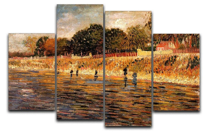 The Banks of the Seine by Van Gogh 4 Split Panel Canvas