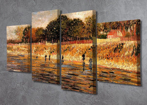 The Banks of the Seine by Van Gogh 4 Split Panel Canvas - Canvas Art Rocks - 2