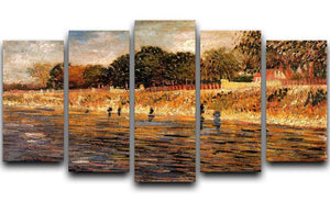 The Banks of the Seine by Van Gogh 5 Split Panel Canvas  - Canvas Art Rocks - 1