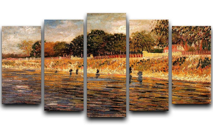 The Banks of the Seine by Van Gogh 5 Split Panel Canvas