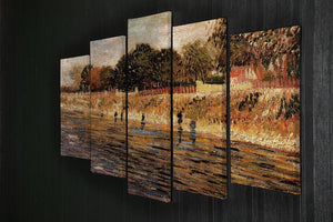 The Banks of the Seine by Van Gogh 5 Split Panel Canvas - Canvas Art Rocks - 2