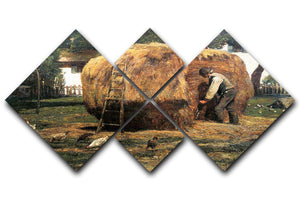 The Barnyard by Hassam 4 Square Multi Panel Canvas - Canvas Art Rocks - 1