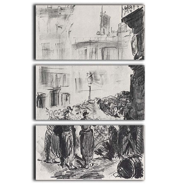 The Barricade by Manet 3 Split Panel Canvas Print