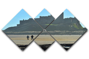 The Beach at Bamburgh 4 Square Multi Panel Canvas - Canvas Art Rocks - 1