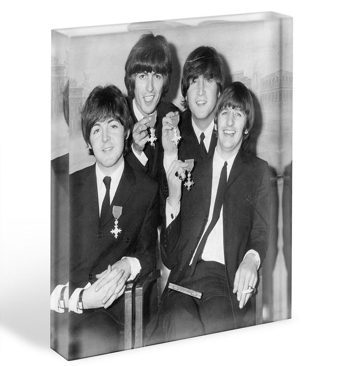 The Beatles sitting with their MBEs Acrylic Block