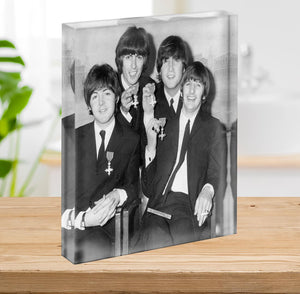 The Beatles sitting with their MBEs Acrylic Block - Canvas Art Rocks - 2