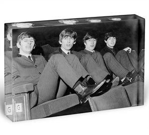 The Beatles with feet up in 1963 Acrylic Block - Canvas Art Rocks - 1