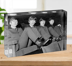 The Beatles with feet up in 1963 Acrylic Block - Canvas Art Rocks - 2