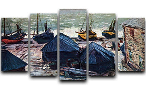 The Boats by Monet 5 Split Panel Canvas  - Canvas Art Rocks - 1