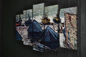 The Boats by Monet 5 Split Panel Canvas - Canvas Art Rocks - 2
