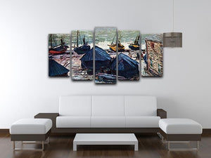 The Boats by Monet 5 Split Panel Canvas - Canvas Art Rocks - 3