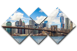 The Brooklyn Bridge 4 Square Multi Panel Canvas  - Canvas Art Rocks - 1