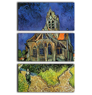 The Church at Auvers by Van Gogh 3 Split Panel Canvas Print - Canvas Art Rocks - 1