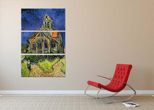 The Church at Auvers by Van Gogh 3 Split Panel Canvas Print - Canvas Art Rocks - 2